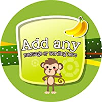 Monkey Banana Sticker Labels (24 Stickers, 4.5cm Each) Personalised Seals Ideal for Party Bags, Sweet Cones, Favours, Jars, Presentations Gift Boxes, Bottles, Crafts