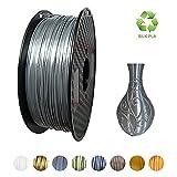 KEHUASHINA Filament PLA Silk 1,75 mm de diamètre pour imprimante 3D - Bobine de 1kg - Accessoire pour imprimante 3D, matériel d'impression 3D (argent)
