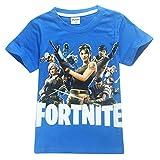 SERAPHY Camiseta de Manga Corta de Algodón Fortnite Camisetas Niños Maravillosos Regalos para Niños Azul-83 130