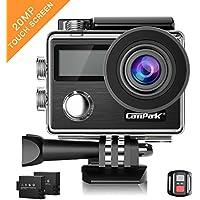 Caméra Sport, Campark X20 Action Cam 4K Ultra HD WIFI Écran tactile 20MP SONY Capteur Caméscope Étanche 30M 170 °Grand-angle avec Télécommande, EIS, 2 1050mAh Batteries et Accessoires