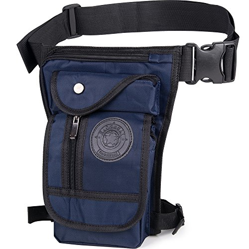 Sacchetto di gamba moto uomo impermeabile tattico militare in oxfort-sacs Banana Borsa di gamba di cintura impermeabile per escursionismo campeggio Bicicletta Sport in piena aria, noir-1 blu
