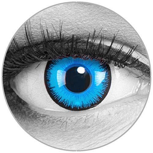 Funnylens Farbige Kontaktlinsen Alper blau - Motivlinsen weich ohne Stärke 2er Pack + gratis Behälter - 12 Monatslinsen - perfekt zu Halloween Karneval Fasching oder Fasnacht