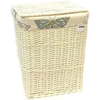 arpan white wicker linen laundry basket large size vintage butterfly
