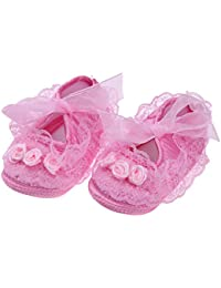 Zibuyu Spring Baby Girls Shoes Soft Anti-Slip Flower Lace First Walkers