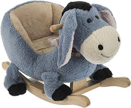 Bieco 74002190 - Plüsch Schaukeltier Esel, grau, Kinder Schaukelstuhl, Sicherheitsgurt und Rückenlehne, Plüschschaukel für Babys und Kleinkinder ca. 65 x 32 x 48 cm
