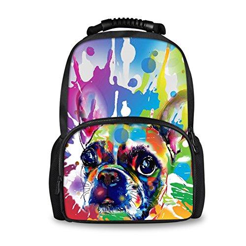 Coloranimal , Damen Rucksackhandtasche cute pug-7 large(17.3 H x 12.2 L x 7.6 W) cute boston terrier-4