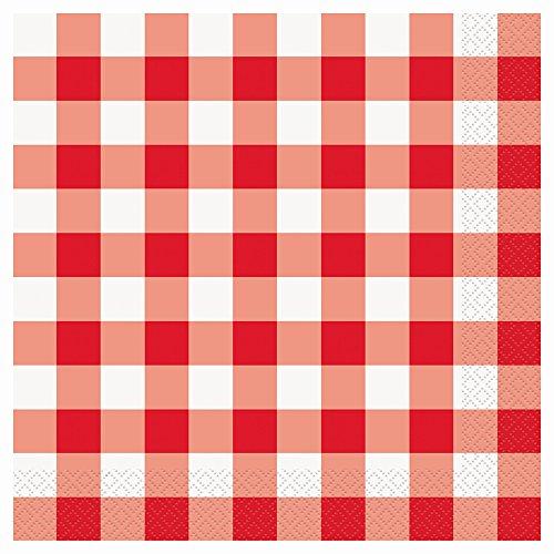 Gingham Checks, Serviette (Check Dinner Napkins 16/Pkg-Red & White)