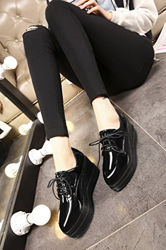 RoseG Femmes Mode Lacets Flache Derbies Plateforme Creepers Vernis