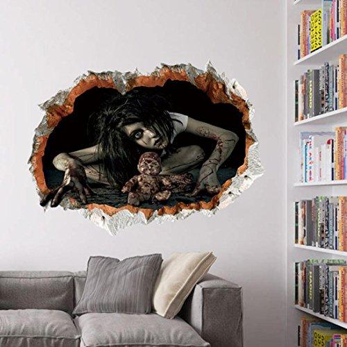 cary Ghost Wand Aufkleber Abnehmbar Wand Aufkleber Vinyl Aufkleber Art Decor Zimmer Wandbild (C) (Super-scary Halloween-masken)