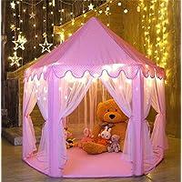 خيمة لعب الأميرة بتصميم قلعة مع أضواء النجوم، مناسبة للبنات للاستخدام في الأماكن المغلقة والمفتوحة، هدية مناسبة لأعياد ميلاد البنات