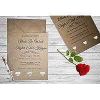 Personalised Handmade Wedding Invitation Invite x 50 Vintage Kraft Brown Rustic WI1