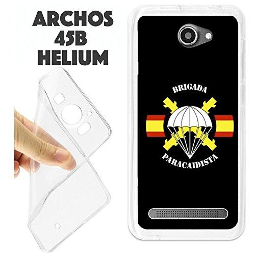 Schutzhülle + Displayschutz Gehärtetes Glas Archos Helium 45B Schutzhülle Tasche K198BRIPAC Brigade Fallschirmjäger Logo (Tasche Fallschirmjäger)