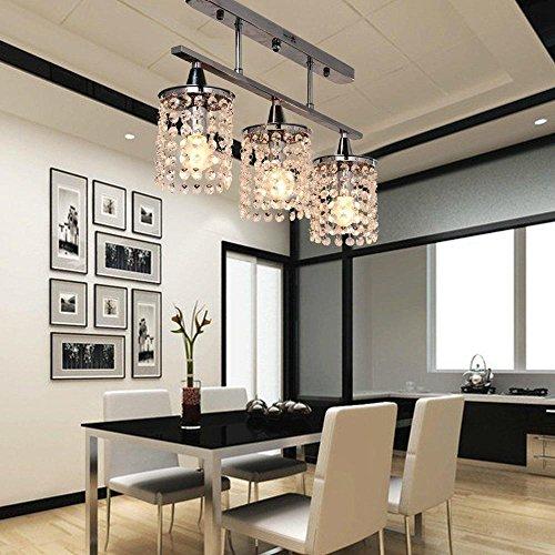 3 Licht hängender Kristall Linearer Kronleuchter mit massiver Metallbefestigung, moderne Unterputzmontage Deckenleuchte für Eintritt, Esszimmer, Schlafzimmer [Energieklasse A] - Flush-mount-schiene