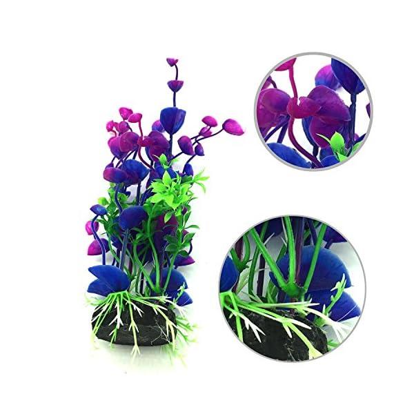 PietyPet Artificial Aquatic Plants, 7 Pcs Large Aquarium Plants Plastic Fish Tank Decorations, Vivid Simulation Plant…