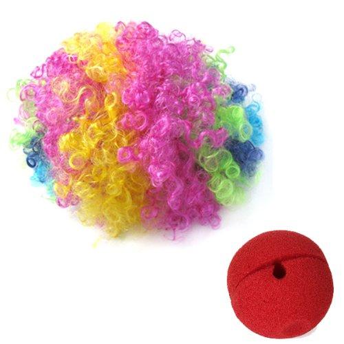 Rot Schaum Clown Nase + mehrfarbig Clown Perücke Jester Kostüm Lust auf Kleid Cosplay (Kleider Auf Lust Rote)