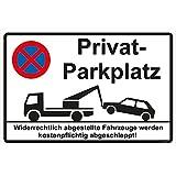 """Hinweisschild 300x200 mm """"Privatparkplatz"""" stabile Aluminiumverbundplatte 3mm stark"""