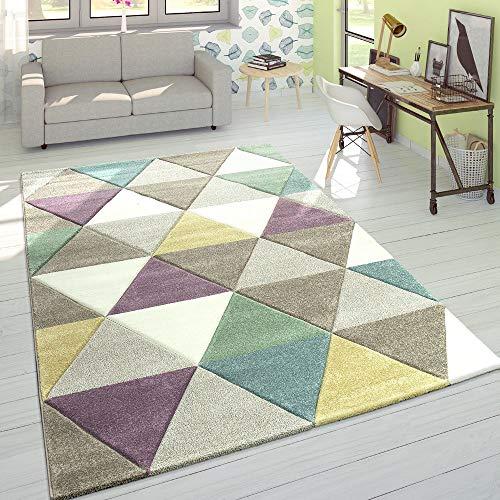 Alfombra Diseño Moderna Perfil Contorneado Colores Pastel Rombos, tamaño:160x230 cm
