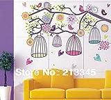 Wandaufkleber Bunte Vogelkäfig Vogelkäfig Blume Baum Familie Aufkleber Deco Kunst Wandaufkleber