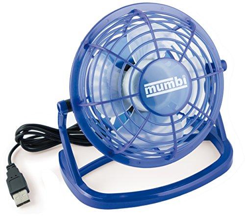 mumbi USB Ventilator, Mini Fan für den Schreibtisch mit Ein/Aus-Schalter, blau -