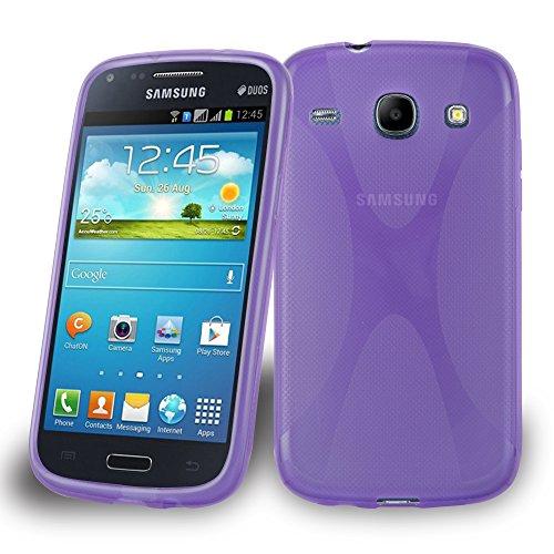 Preisvergleich Produktbild Cadorabo Hülle für Samsung Galaxy CORE DUOS - Hülle in Flieder VIOLETT – Handyhülle aus flexiblem TPU Silikon im X-Line Design - Silikonhülle Schutzhülle Soft Back Cover Case Bumper