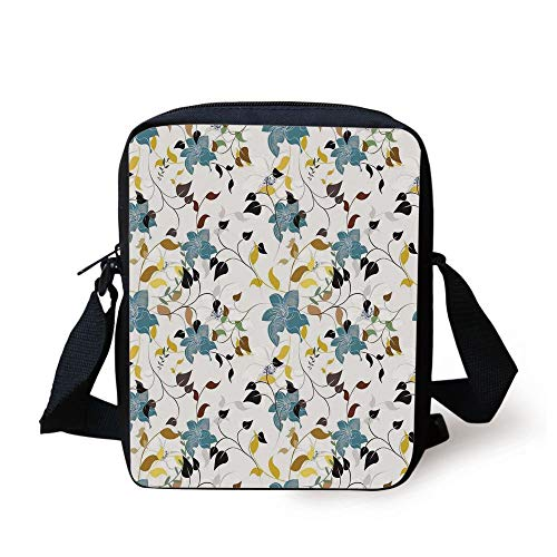 Leaves,Flowers Colorful Leaves Poison Ivy Contemporary Decorative Design,Black Brown Red Yellow Teal Cream Print Kids Crossbody Messenger Bag Purse (Ivy Make-up Poison)