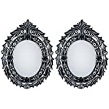 MADHUSUDAN GLASS WORKS Mirror & Plywood Wall Mirror (Pack Of 2, Silver)