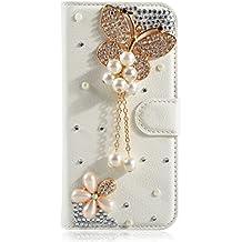 Alcatel Pixi First Funda, Lifetrut [Caja de la carpeta del tirón] [Diseño cristalino] De lujo De la PU de Cuero Magnético de Los Fondos Del Monedero Del Brillo para el Alcatel One Touch Pixi First 4024D [mariposa de la perla]