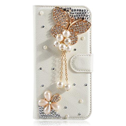 iPhone 6s Plus Coque, iPhone 6 Plus Coque, Lifeturt [ Fleur blanche ] Livre cuir de qualité supérieure Wallet Case Cover pour iPhone 6s Plus/6 Plus E02-03-Pearl papillon
