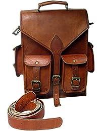 Genuine Leather Vertical Back Pack Messenger Bag Brown BY Bag House - B07BZSTLVR