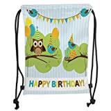 ZKHTO Drawstring Sack Backpacks Bags,Birthday Decorations for Kids,Cartoon Owl Bird Tree Branch with Flags on Striped Backdrop, Soft Satin,5 Liter Capacity,Adjustable String Closure