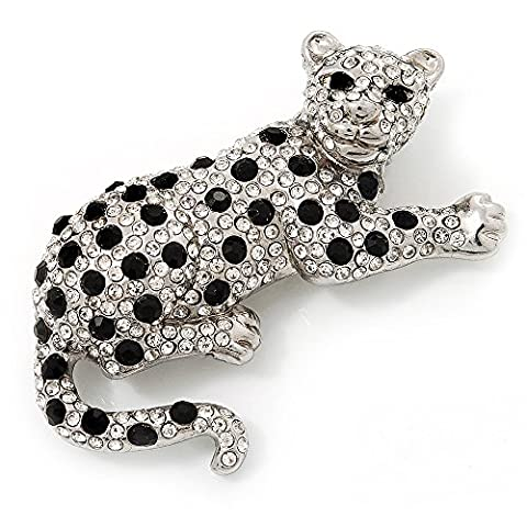 Swarovski Crystal Leopard Brooch (Silver Plated Finish)