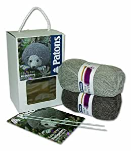 Patons Lot de 2 pelotes de laine assorties avec aiguilles à tricoter pour fabriquer un hérisson