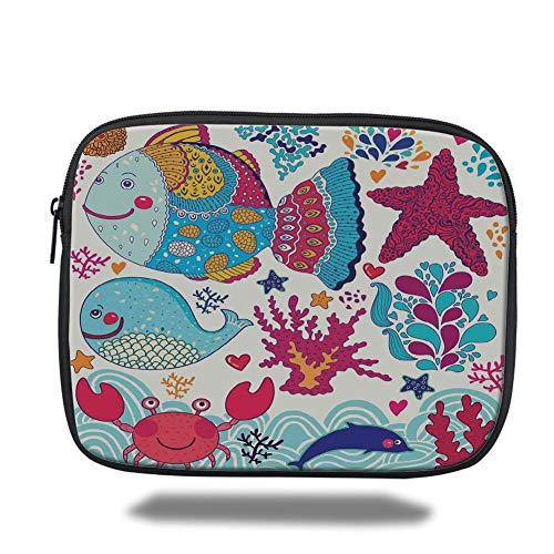 Tablet Bag for Ipad air 2/3/4/mini 9.7 inch,Whale,Funny Fishes Starfish Coral Crab Underwater Life Waves Marine Clipart Illustration,Multicolor,Bag Marine Wave
