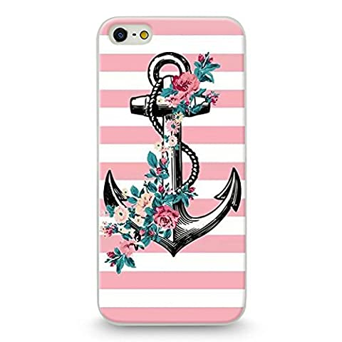 Coque iphone 5 5S SE Ancre Marin raye rose blanc fleur liberty