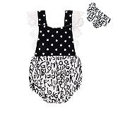 SCFEL Newborn infantili delle neonate pagliaccetto Lettera Stampa pizzo floreale di un pezzo Ruffle Outfits prendisole con fascia (0-24Months) (6-12Months)