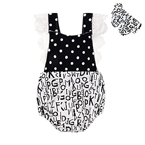 SCFEL Newborn Toddler Infant Baby Girls Romper Lettre Imprimer Lace Floral One Piece Ruffle Outfits Sunsuit avec bandeau (0-24Moes) (0-3 mois)