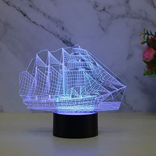 Nachtlicht 3D Optical Illusion Lampe Kinderzimmer Schlafzimmer Segelschiff Modell