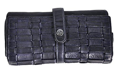 Damen Geldbörse lang Voll-Rind-Leder Jockey Club Shabby Chic Used Optik Flecht Design dunkel blau (Geflochtenes Leder-geldbörse)