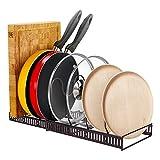 OldPAPA Altura ajustable sartén Tapa de olla organizador, Estante de 7 Niveles Almacenamiento de accesorios Cocina metal Estante de la olla horizontalmente Artículos del Cocina