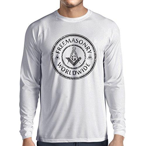 T-Shirt mit langen Ärmeln Freimaurer symbole (Medium Weiß Mehrfarben) (Gebäude-listen)