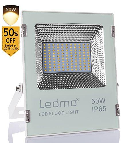 LEDMO Foco Proyector/Foco LED 50W , 2835 foco led cuentas de la lámpara, Blanco de fundición a presión shell, 2700K,focos led exterior,IP65 exterior Impermeable Floodlight led