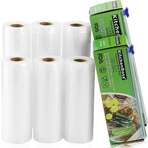 KitchenBoss Sac Sous Vide Alimentaire 6 Rouleaux 15cmx5M et 20cmx5M avec 2 Boîte de Coupe(Pas Plus de Ciseaux) sans BPA, Approuvé par la FDA pour Appareil sous Vide, Qualité Commerciale