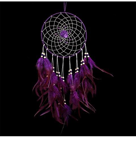 Große indischen Kreis Dream Catcher Wind Chimes violett Feder traditionellen Stil Anhänger Wand hängende Dekoration Home Geschenk (Blau, Großes Bett Tröster Set)