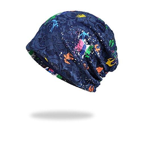 WELROG Chemo Hut Frau Hut Spitzen Kopftuch Super Weich Slouchy Turban Kopfbedeckungen Kopf Wraps(Navy blau #2)