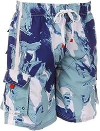 Sakkas Hommes Short Conception Vagues Multicolore Patins Planche de Surf / Maillot de Bain (Tailles et Couleurs Variées)