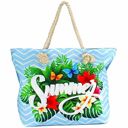 MC-TREND® Große Strandtasche mit Reißverschluss Seile Taue als Trageriemen Damen Shopper Tasche Schultertasche für Strand Pool Schwimmbad Shopping (SUMMER blau) (Große Seil)