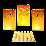 24er Set Mit Stern, Herz und Sonne Dekorative Laternen aus Weißem Papier mit 24 LED Teelichtkerzen von Kurtzy - Herzstück Bastelschmuck für Hochzeiten und Geburtstage - Flammbeständig