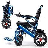 Jghjh Alluminio Leggero Pieghevole Sedia a rotelle elettrica Confortevole e Non accidentato, Doppio Proteggere la Tua Famiglia più tranquillità