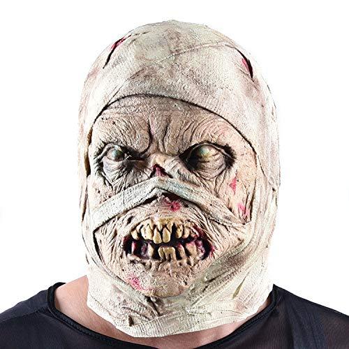 Terror Devil Mummy Latex Maske, Halloween Kostüm, Prom Party Kopfbedeckungen, Adult Makeup Kostüm, Haunted House Requisiten, Cosplay, Männer Und Frauen (Mummys Tag Kostüm)