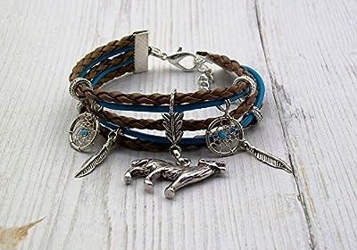 """Bracelet ethnique Loup """"esprit Amérindien"""" cuir bleu et marron clair modèle 2"""